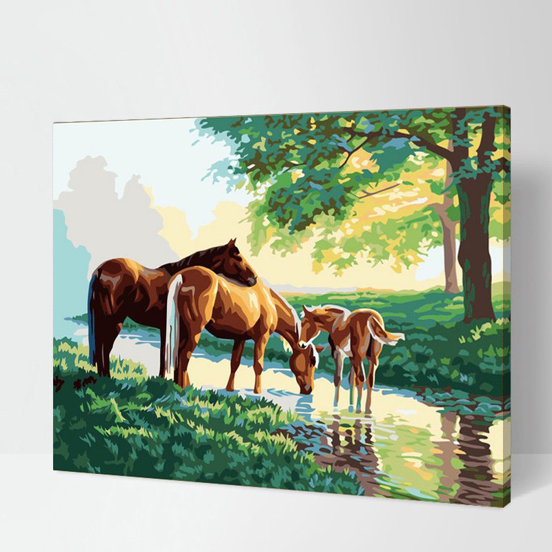 Jaa-G154 Frameless Pictures Painting By Numbers DIY Digital Oil Painting On Canvas Home Decoration 40x50cm Horse Drinking Water(China (Mainland))