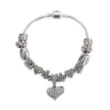 New Fashion European Silver Plated Red Love Heart Bead Crystal Charm Bracelet Women DIY Bracelets & Bangles Jewelry SL1202(China (Mainland))