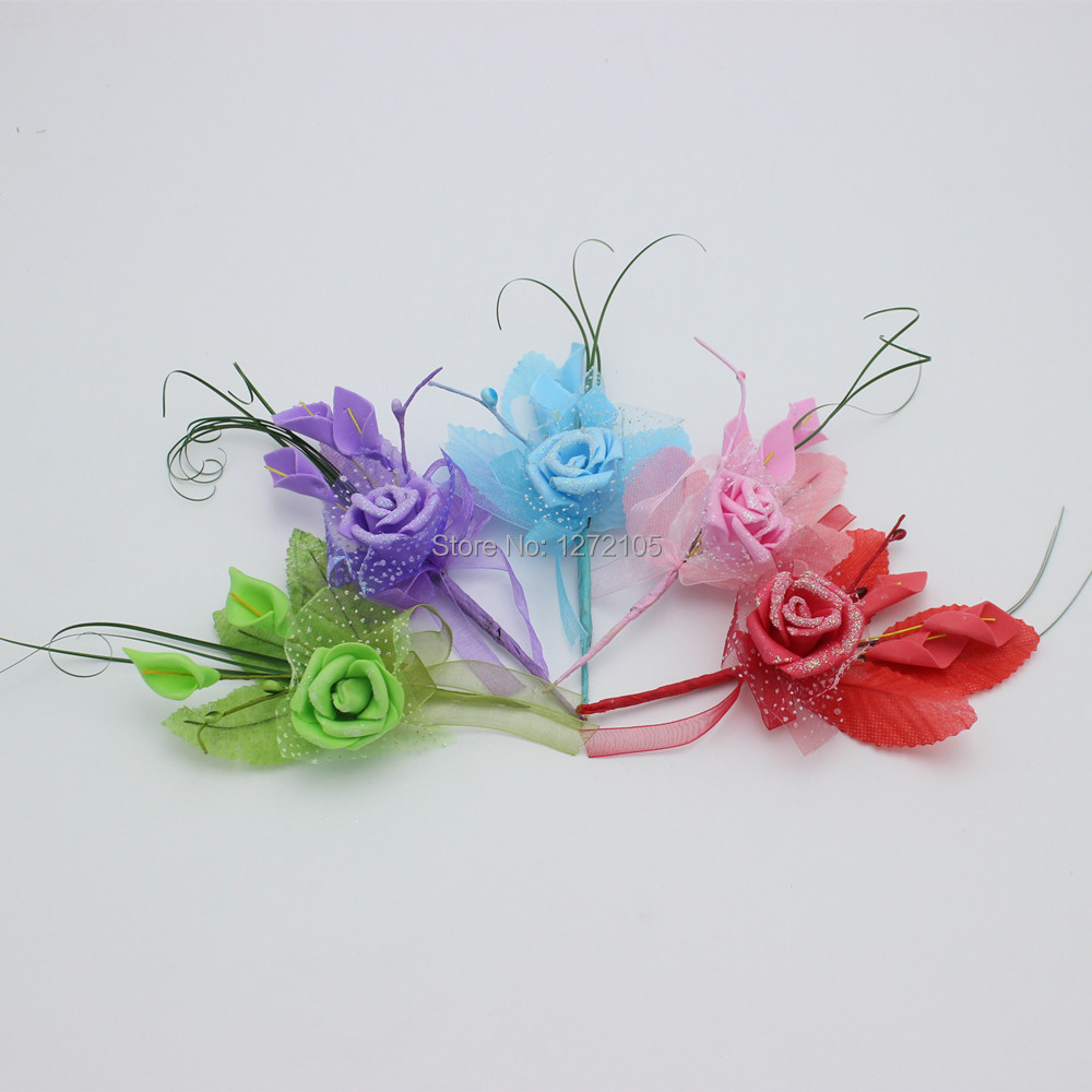 Wedding Decorations Corsage.with Sequins Simulation PE & Wire.12pcs/lot Handmade Crafts Artificial Flower Wedding Decoration(China (Mainland))