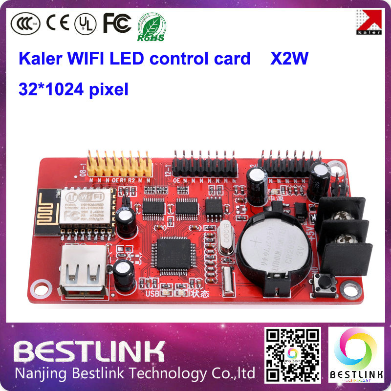 XU2W led controller card 32*512 pixel KALER wifi control card x2w USB port for p10 led moving sign p10 led display module p10(China (Mainland))