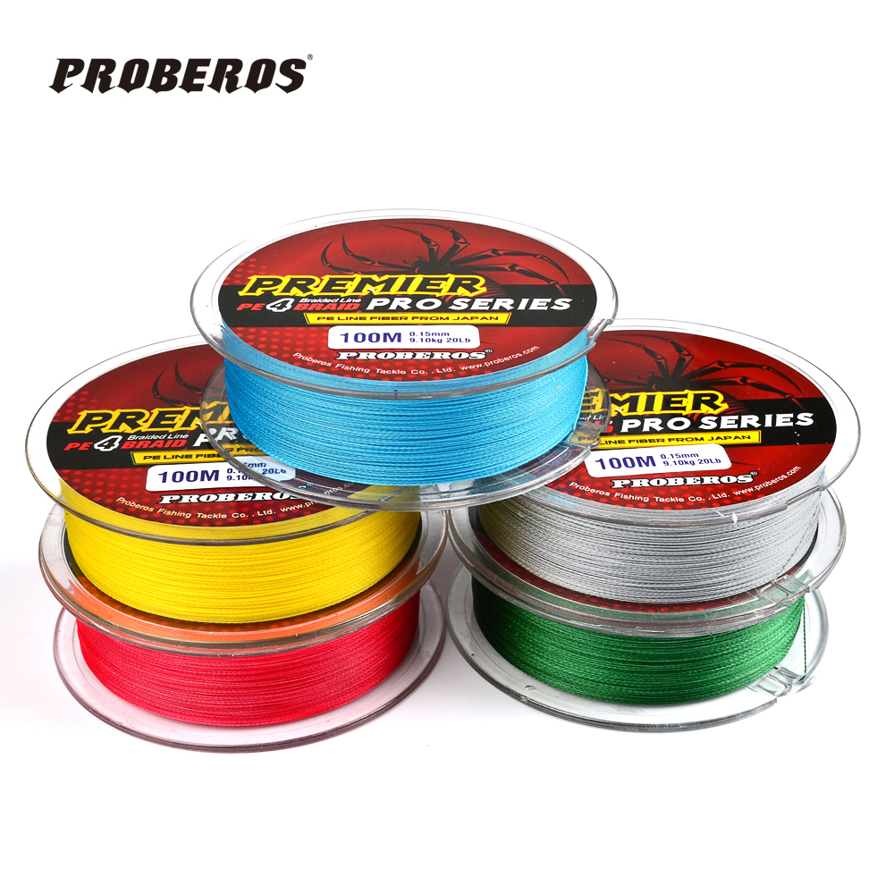 100m fishing line proberos brand red green grey yellow for Red fishing line