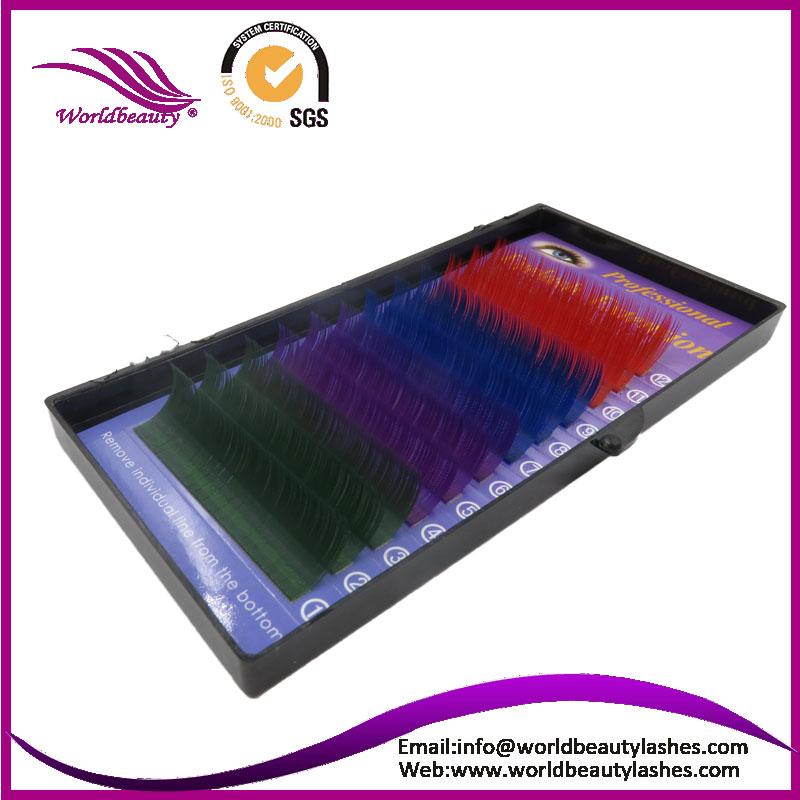 Green color Silk Colorful Eyelash Extension ,Fashion False eyelashes Free shipping(China (Mainland))