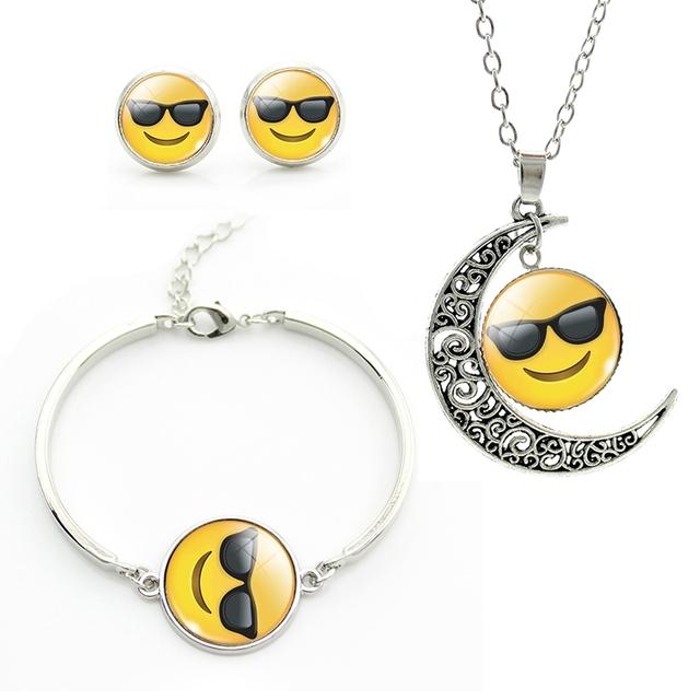 2017 Emoticonos de Moda Conjuntos de Joyas para niñas niños Luna Colgante Pendientes Collar Pulsera plateado