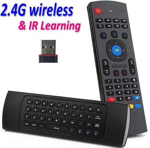 FREE SHIPPING 2.4GHz Double keyboard MX3 Wireless Air Mouse With IR Remote Control for PC Smart TV IPTV Android TV Box(China (Mainland))