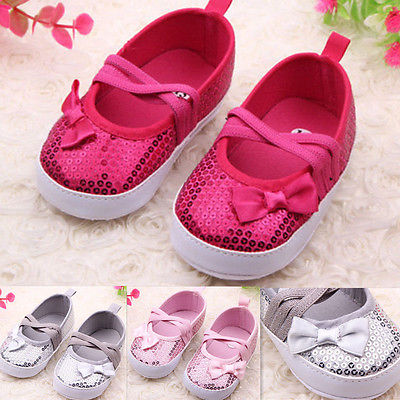 First Buyer Discount!!! 2015 Fashion Kids Baby Bowknot Bling Sequins Soft Sole Bottom Infant Toddler Shoes 0-12M(China (Mainland))