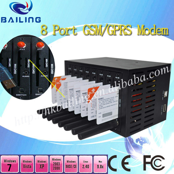 Good news!!! Q2406B 8 port GSM modem pool with internally sms software just need 166usd GSM SMS MMS modem pool(China (Mainland))