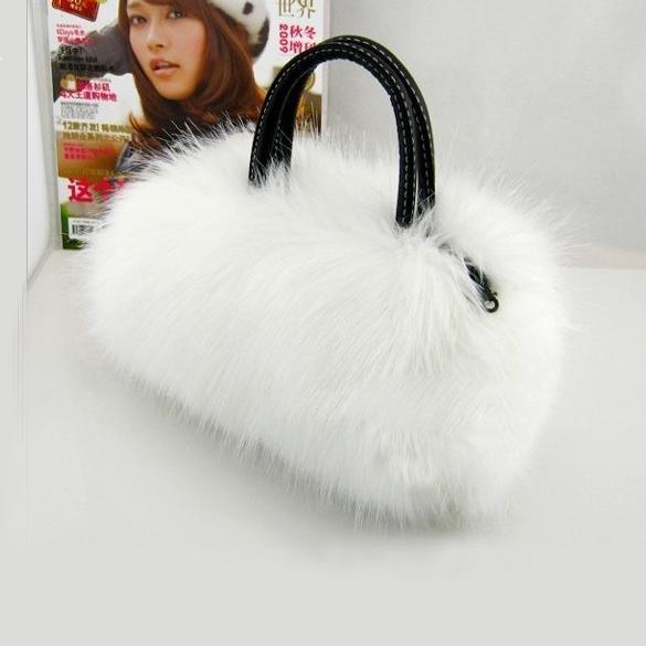 Fur Mini Handbag Nice Bag Shoulder Lovely Good shipping Winter Leather Free(China (Mainland))