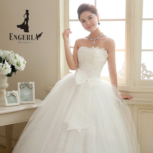 ENGERLA ENGERLA Plus Size Wedding Dress Vestidos De Noiva China Big Bow and Beading Decorations Lace up Bridal Dresses(China (Mainland))