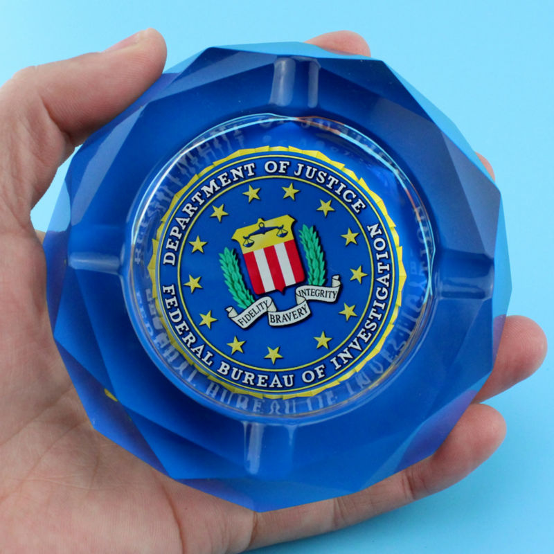 Related Product Intelligence Agency FBI Special Agent Spy Funny Spoof Creative Smoking Gift For Man Boyfriend Crystal Ashtray(China (Mainland))