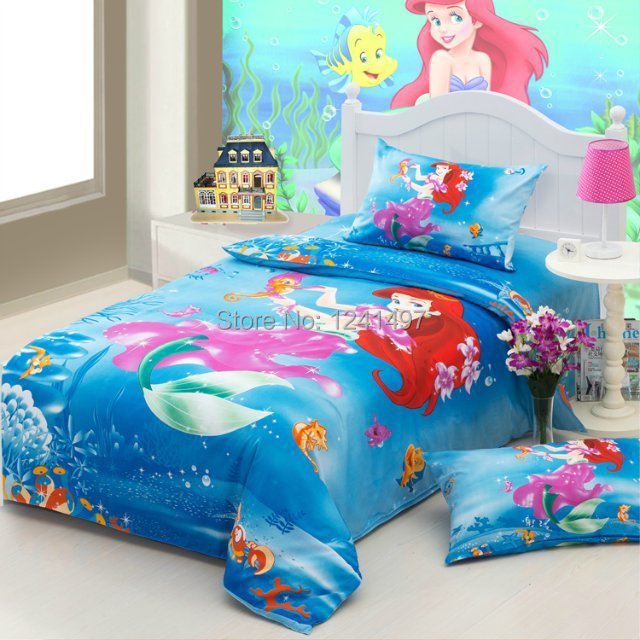 Princess mermaid bedding sets girls twin full size bed sets 100 cotton bed linen for children in - Twin size princess bed set ...