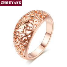Buy Top Flower Hollowing craft Rose Gold Color Ring Fashion Jewelry Full Sizes Wholesale ZYR281 for $1.08 in AliExpress store