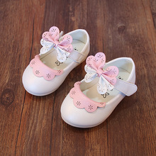Princess Baby Sandals For Girls 2017 Bow-tie Sandals Girls Red Shoes Newborns Flat Sandals Leather Infant Shoes Summer A03102(China (Mainland))