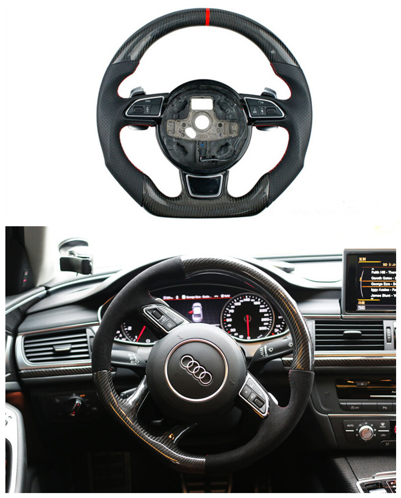 Car styling Audi A3 A4L A5 A6L A7 Q3 Q5 really carbon fiber FLAT BOTTOM Oem sport steering wheel modified carbon fiber version(China (Mainland))