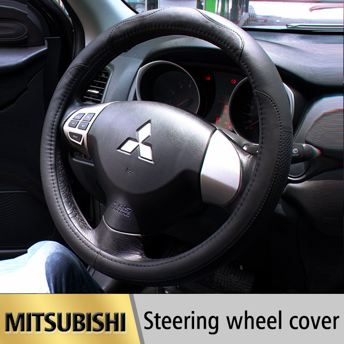 Leather Car Styling Steering Wheel Cover For Mitsubishi Outlander 2013-2016 Lancer 10 ASK L200 Pajero Sport 1 2 Auto accessories(China (Mainland))