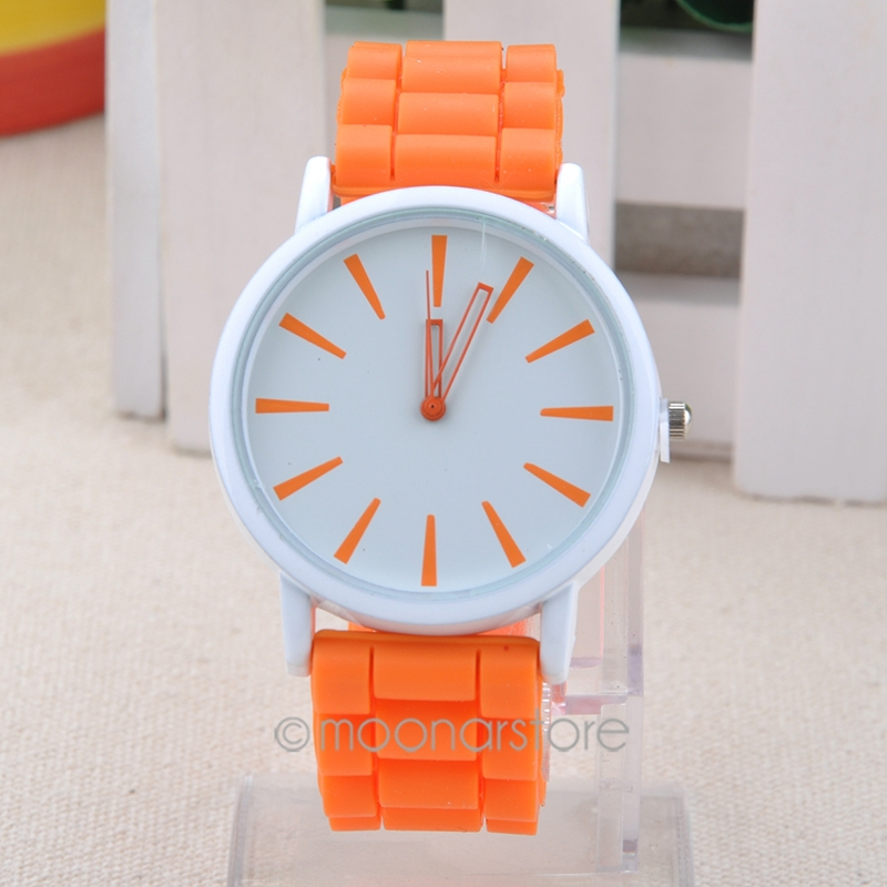 Sweet Style Sugar Color Rubber Silicone Jelly Ice Hollow out Pointer Wrist Watch Clock Wristband Wristwatch Dress Watch(China (Mainland))