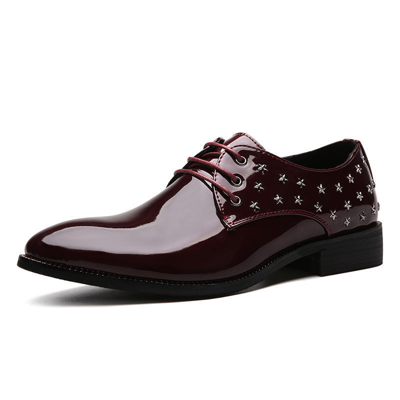 Rivets Patent Leather Shoes Oxfords Men Dress Shoes Formal Men Shoes Pointed Toe Men Flats Lace Up(China (Mainland))