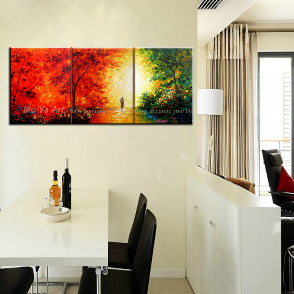 Buy Triptych 3 piece canvas wall art set hand painted knife paint beautiful landscape oil painting on canvas for dinning room decor cheap