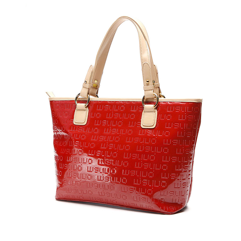 Фотография Bright Red  Embossing Tote Bag Women Large Capacity Hand Bag Stylish Contrast Color High Quality Ladies Panelled Shoulder Bag