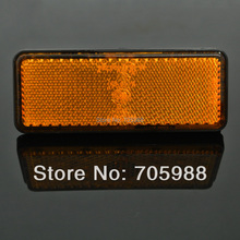 Free shipping 2 * AMBER Rectangle YELLOW lens LED Reflectors Brake Light Universal Motorcycle Reflectors car Reflectors(China (Mainland))