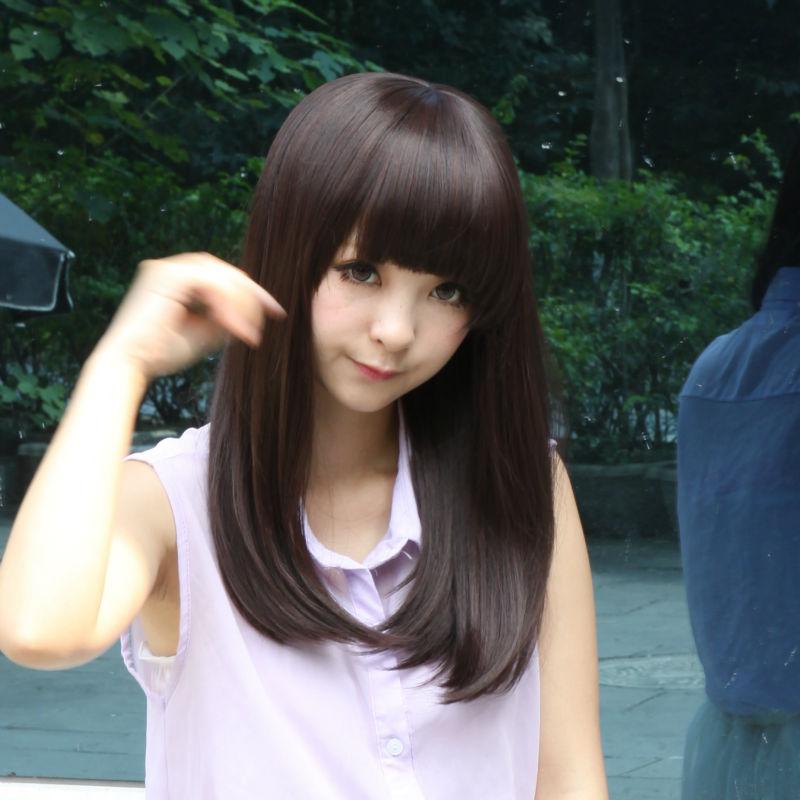 Synthetic Hair Fashion Synthetic Medium Wavy Dark Brown Hair Wigs Harajuku Pelucas Cosplay Salon Halloween Anime Synthetic Hair<br><br>Aliexpress