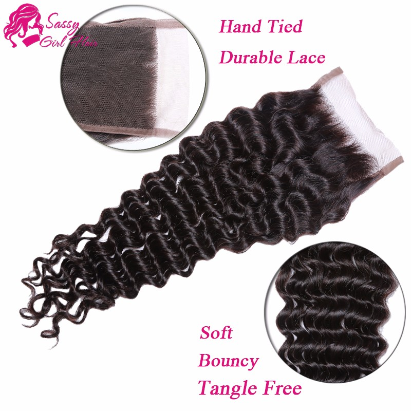 3 Bundle Brazilian Deep Curly With Closure Virgin Brazilian Deep Wave With Closure Human Hair Bundles With Closure Deep Wave