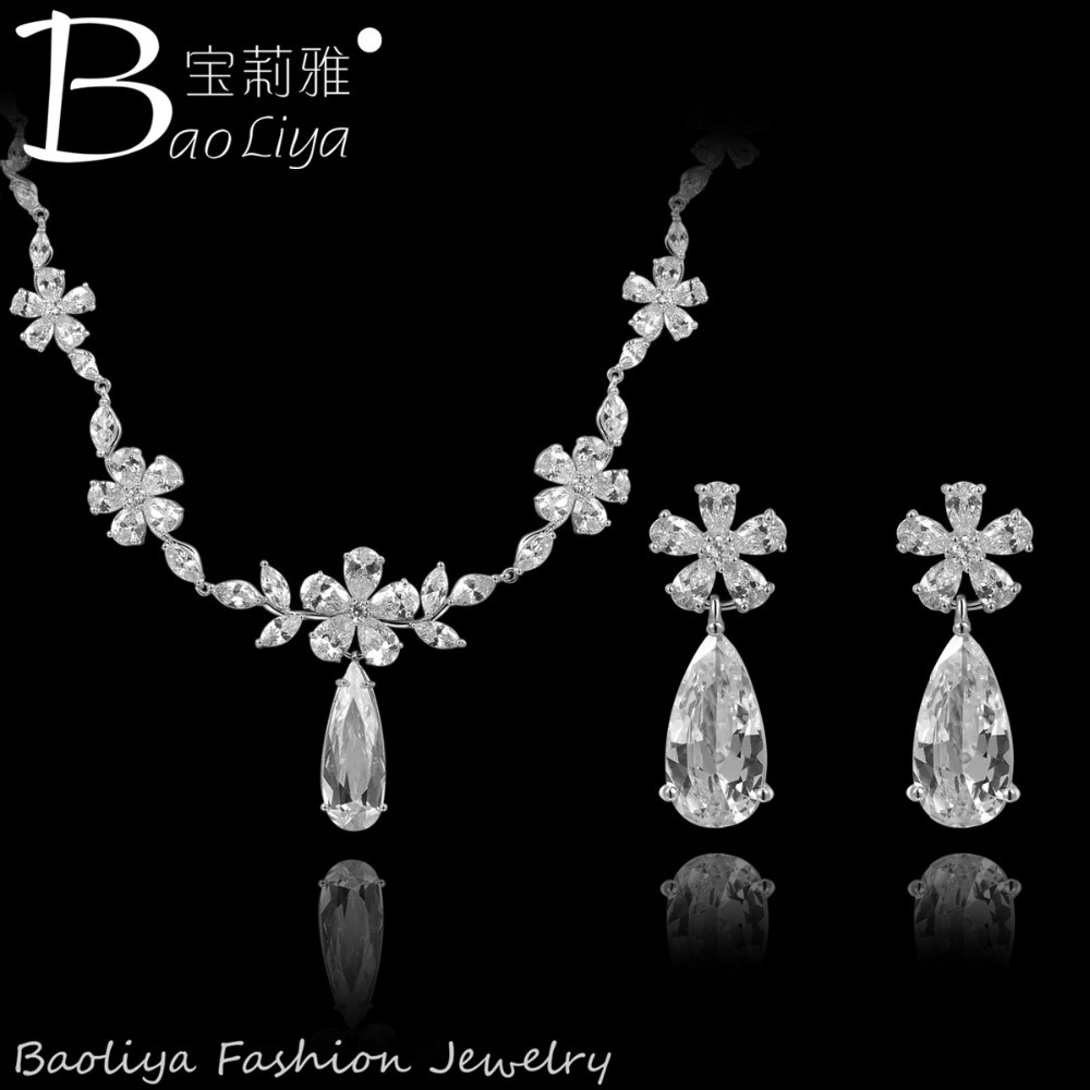 2015 Free Shipping Water Drop Jewelry Sets Cubic zirconia Necklace Earrings Sets For Womens Wedding Bridesmaid jewelry<br><br>Aliexpress