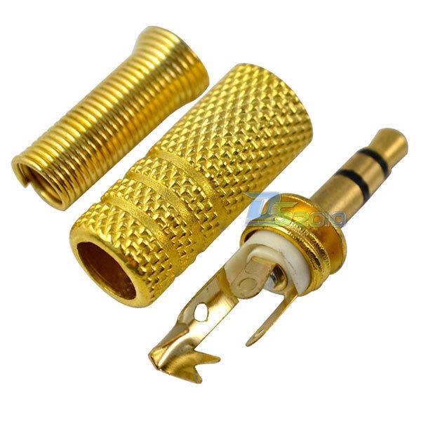 Гаджет  Free Shipping Gold 3.5mm Plug Connector Male Stereo Audio Metal 1/8 inch Jack Solder Terminal None Электротехническое оборудование и материалы