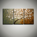 Large Abstract modern 3 piece oil knife painting canvas Flower tree handmade painting sets for living
