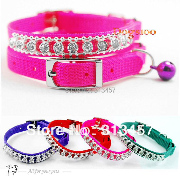 Colorful Nylon Rhinestones Diamonds Dog Puppy Cat Collars Necklace with Bells(China (Mainland))