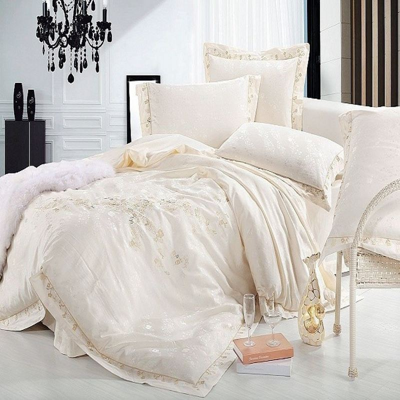 luxury jacquard silk bedding set queen king size 4pcs