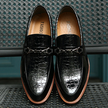 Italian Fashion Patent Leather Oxfords Mens Glossy Dress Shoes Party Business Flats Crocodile Texture With Buckle Hand Sewing(China (Mainland))