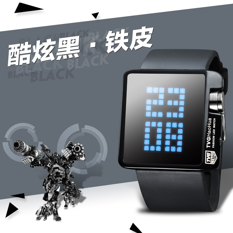 Teenager LED Large Light Screen Digital Watch Rubber Strap Square Screen Dot Matrix Display Outdoor Sports Mirror Casual Concise(China (Mainland))