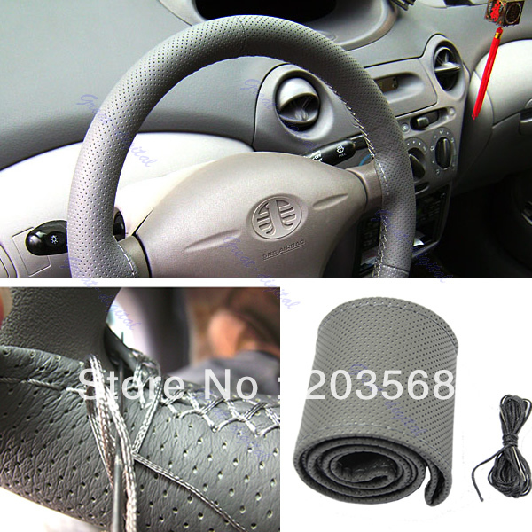 Hot Sale!!!Leather Steering Wheel Cover With Needles & Thread, DIY Steering Wheel Cover Gray/Black/Beige +Free Shipping