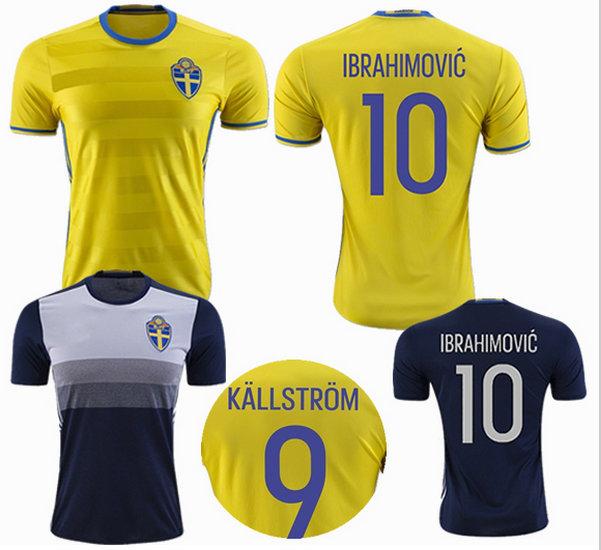 Top Thai 2016 Sweden home yellow Soccer jersey Team National IBRAHIMOVIC KALLSTROM away blue Football shirt(China (Mainland))