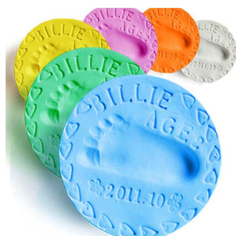 baby care Air Drying Soft Clay Baby Handprint Footprint Imprint Kit Casting Parent-child hand inkpad fingerprint 6 Colors