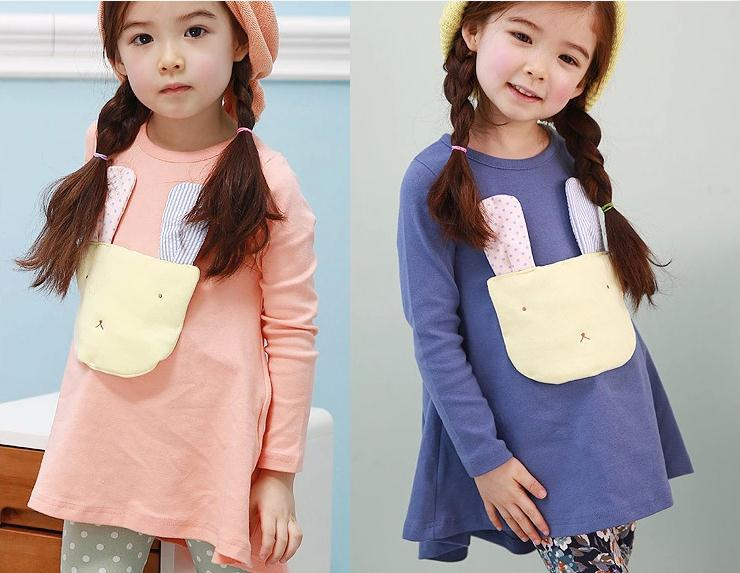 2014 New baby girl dress pink navy blue cotton long sleeve rabbit bow girls princess children dresses