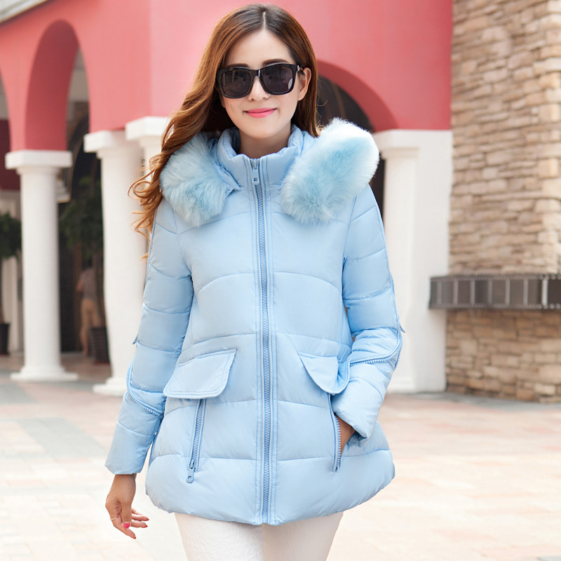 Winter Women Jacket 2015 Winter Long Cotton-padded Parka Casual Winter Coat Women Clothing Solid Hooded Fur Collar Outwear ZL001