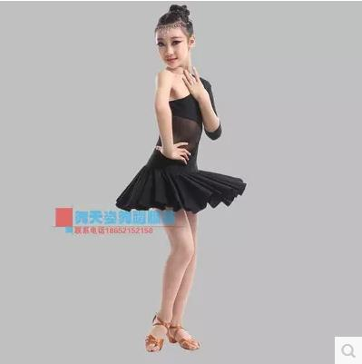 Child Latin dance costume sexy single sleeves milk silk children latin dance dress for child latin