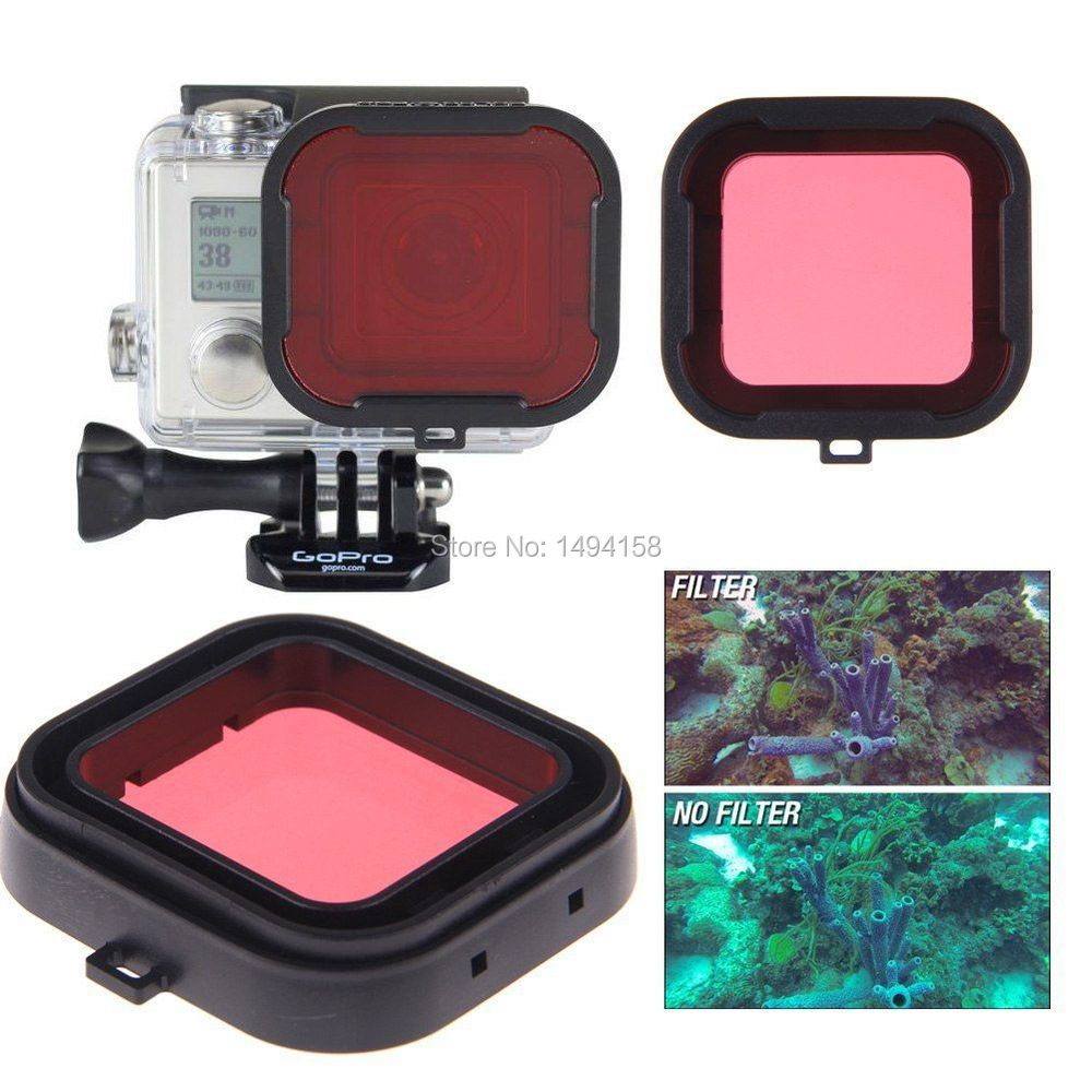 For GoPro hero 3+ mini camcorder Gopro accessories polarizer Red / Yellow / Gray / Purple color underwater diving UV lens filter(China (Mainland))