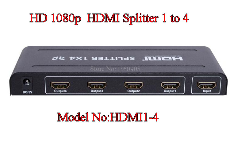 New 1080P HD Repeater Amplifier HDTV Box 5 Ports 1 x 4 HDMI Splitter Distributor Switch Audio Video HUB with English User Manual<br><br>Aliexpress