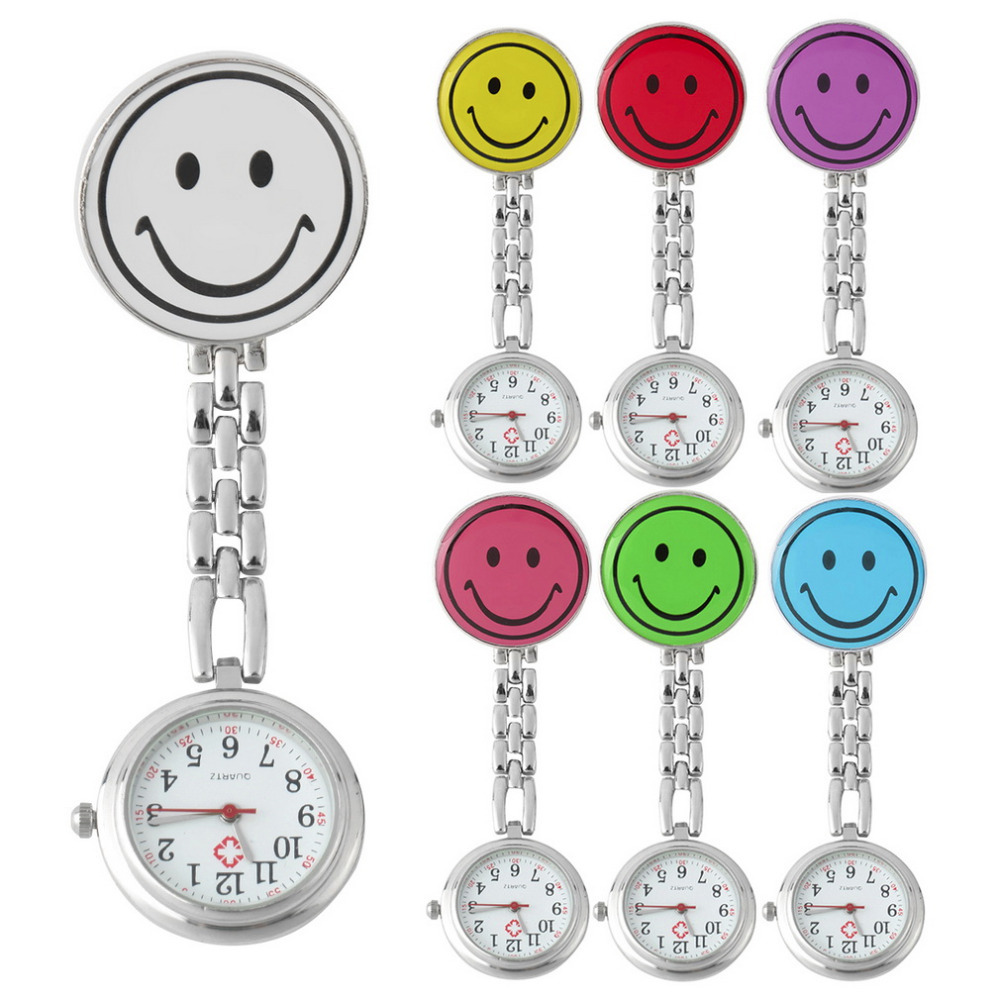Top Quality Smile Face Nurse Fob Brooch Pendant Watch Portable Pocket Watch Clip Watch Medical Use