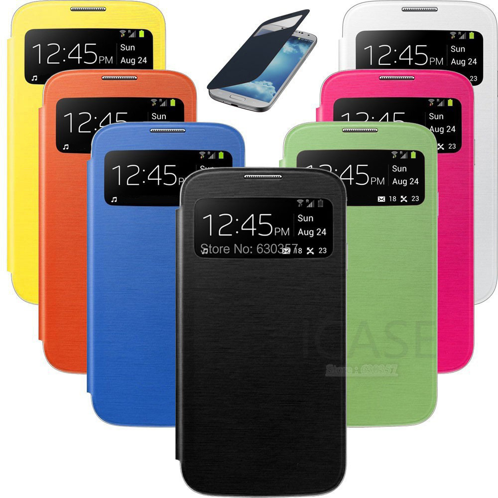 Smart Sleep View Window Function Flip Leather case For Samsung Galaxy S4 Mini S4mini I9190 Battery housing Back Cover Case(China (Mainland))