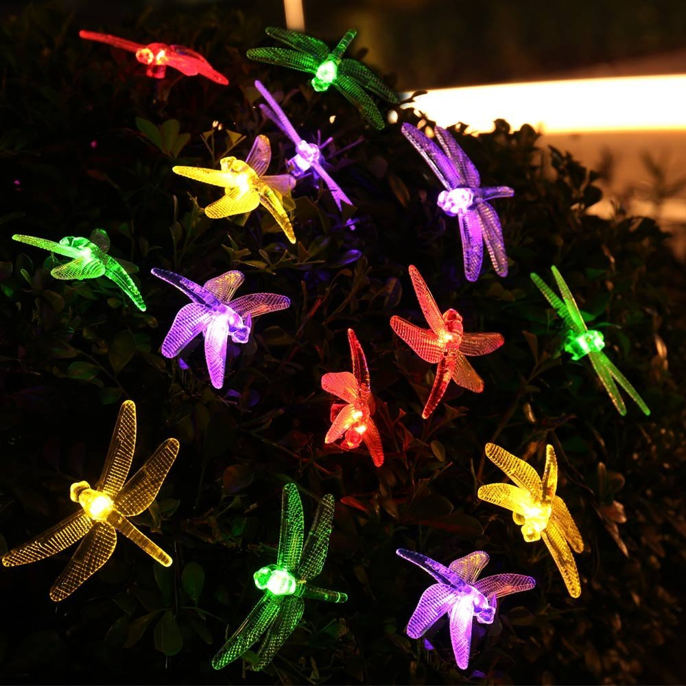 Solar Powered Outdoor String Lights Dragonfly, 6M/19.7ft 30 Leds Starry Lighting christmas decorations for home Garden Light(China (Mainland))