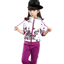 Kids Tracksuit For Girls Age 6-14 Floral Zipper Kids Hoodies+Pants Girls Sport Suit 2015 Winter Girls Clothes 291