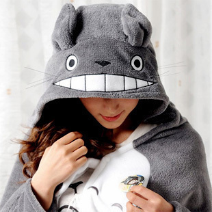 Rabbit totoro mantissas plush toy cape lounged blanket air conditioning blanket dual coral fleece(China (Mainland))