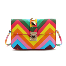 New Fashion Women Brand Bag Rainbow Color Striped Ladies Rivet leather Crossbody Shoulder bag Party bags Messenger bag Bolsa