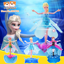 Hot Cheap Princess Fairy Elsa and Anna Doll Princess Infrared Induction Control Fashion Boneca With Light Music Electronic Toys
