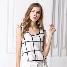 Summer Women Blouses 2016 New Casual Chiffon Silk Blouse Slim Sleeveless O-neck Blusa Feminina Tops Shirts Solid Plus Size(China (Mainland))