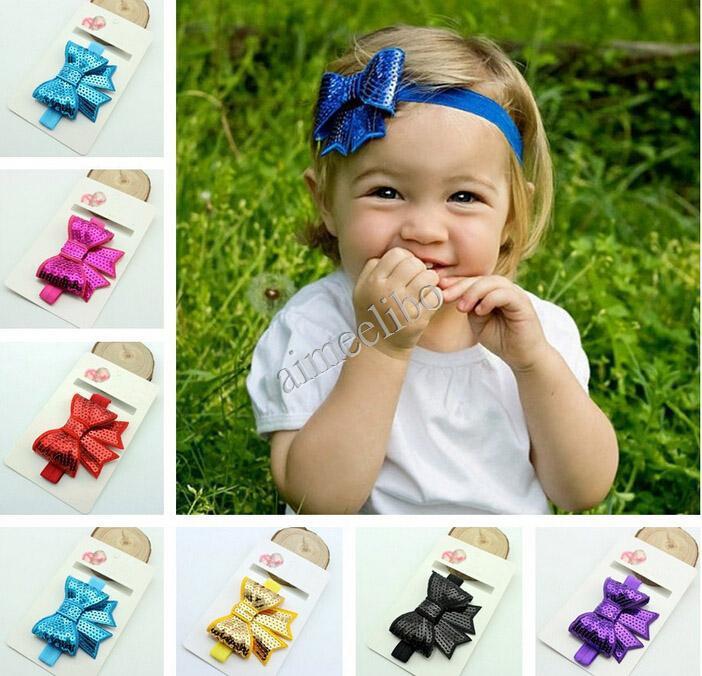 Free Shipping Sequins Bow Headband For Baby Girl Flower Elastic Headband Girls Headwear Kids Hair Accesories(China (Mainland))