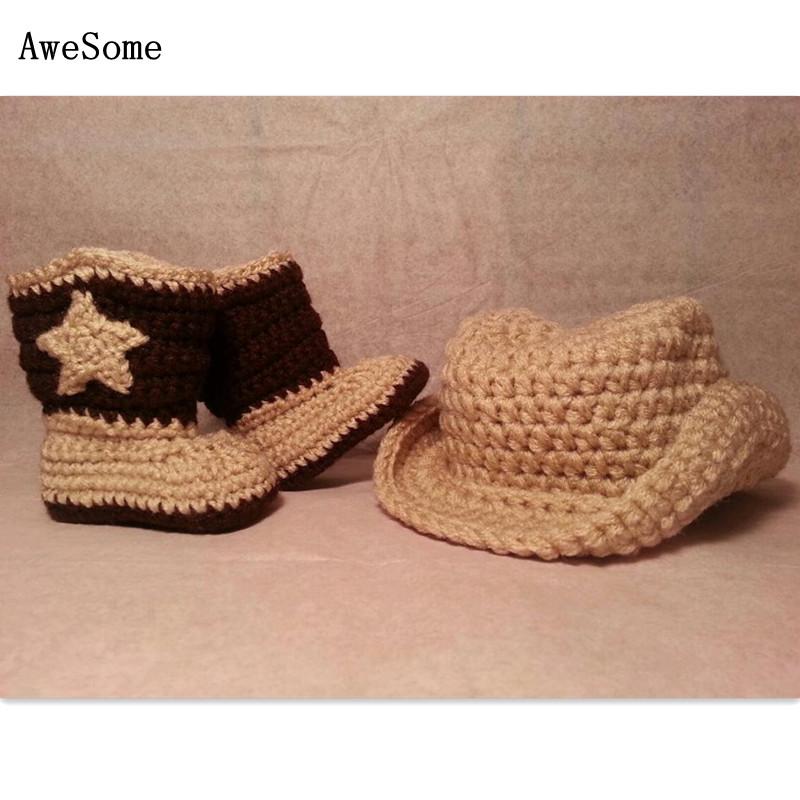 Baby Cowboys Hat & Boots Set,Handmade Knit Crochet Newborn Beanie Boy Girl Football Team Costume,Toddler Photo Prop,Customize(China (Mainland))